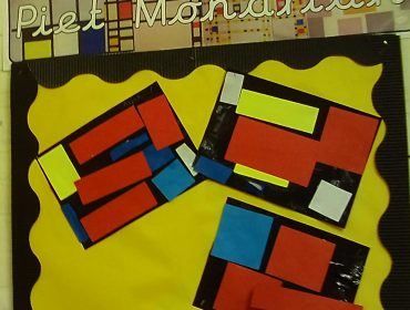 The children created pictures in the style of the artist Piet Mondrian