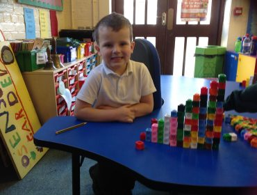 I think I got to 14.Exploring number and making number blocks.