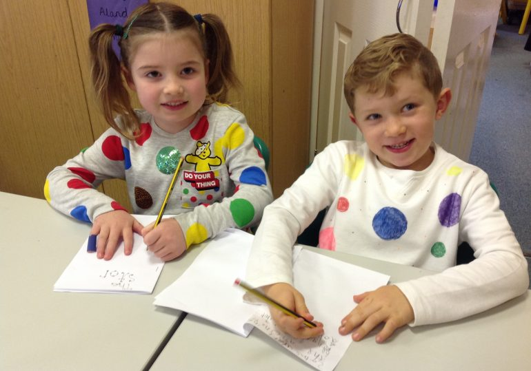 Spotty Dotty for Children in Need. We raised a grand total of £192.67. Thank you to everyone who contributed.